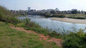 סיור לאורך נהר הירקון לפני השפך לים התיכון בתל אביב.